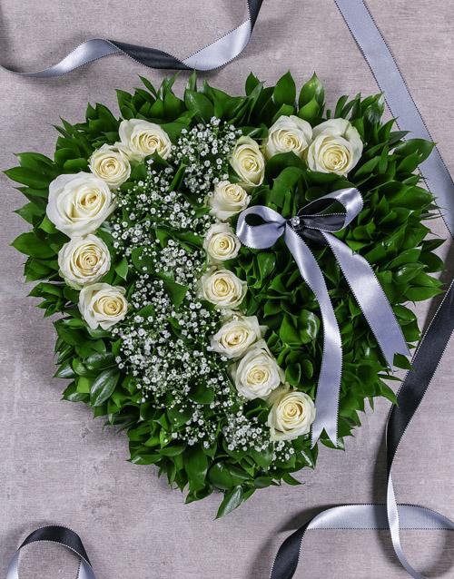 flowers White Rose Funeral Heart