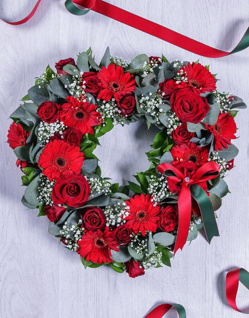 flowers Red Gerbera Funeral Heart