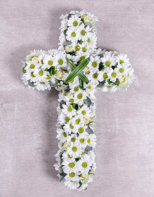 flowers White Funeral Cross