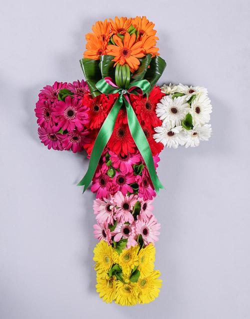 flowers Mixed Gerbera Funeral Cross