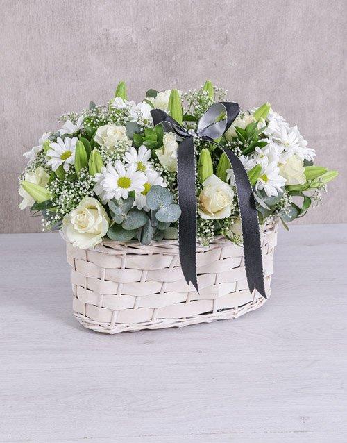 flowers White Sympathy Basket