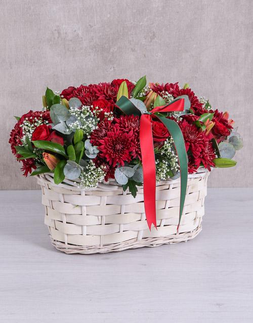 flowers Red Sympathy Basket