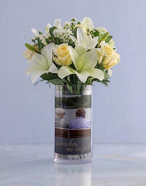 personalised Personalised White Flowers in Sympathy Photo Vase