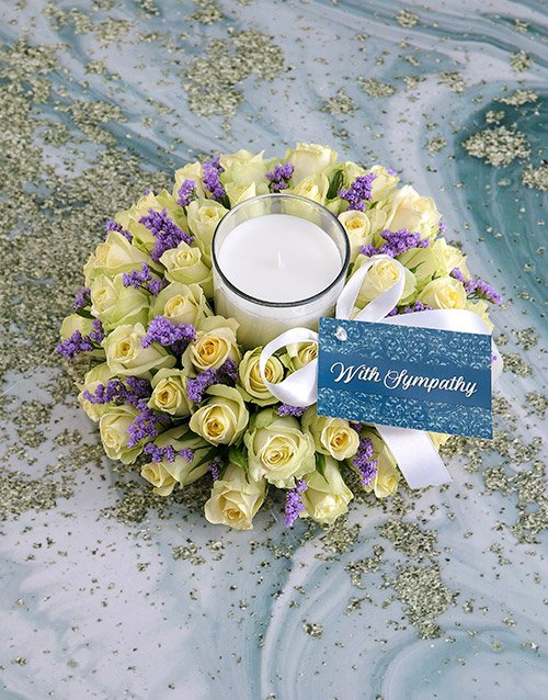 flowers White Sympathy Roses With Glass Candle