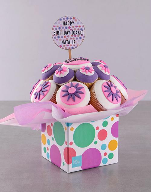 birthday Personalised Happy Birthday Flower Cupcake Bouquet