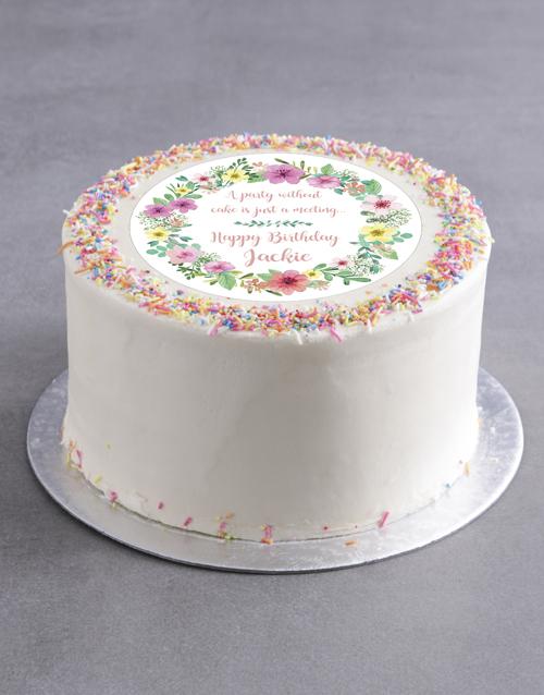 birthday Personalised Floral Birthday Cake