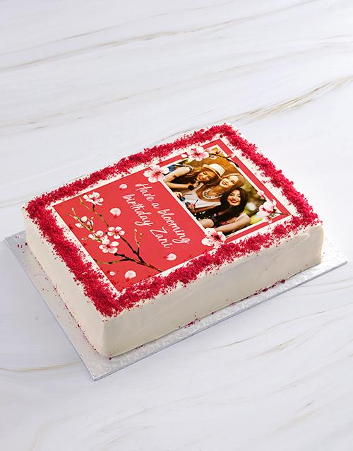birthday Blooming Birthday Photo Cake
