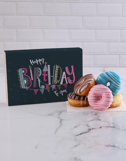 birthday Birthday Stripe Doughnut Box