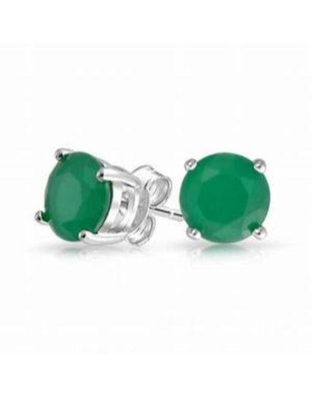birthday Silver 925 4 Claw Round Emerald Studs