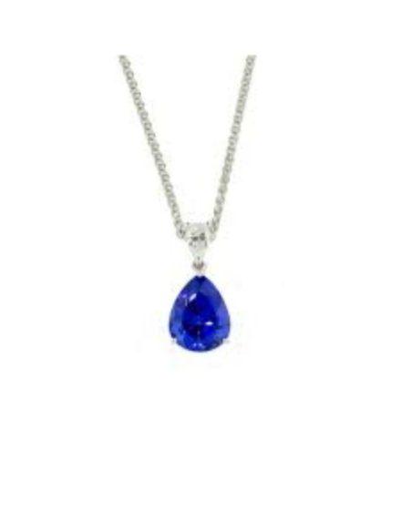 birthday Silver Claw Set Pear Tanzanite Necklace