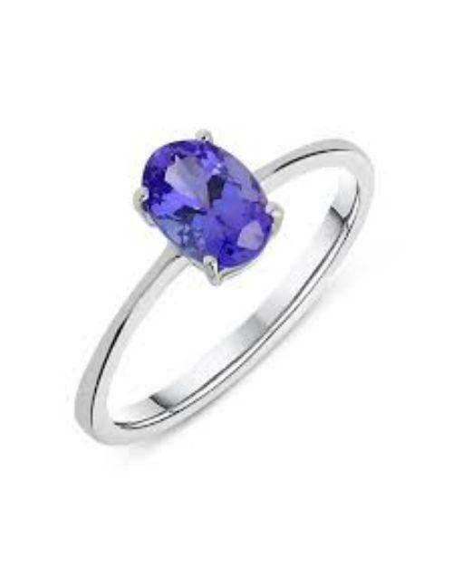 birthday Silver Claw Set Oval Tanzanite Ring