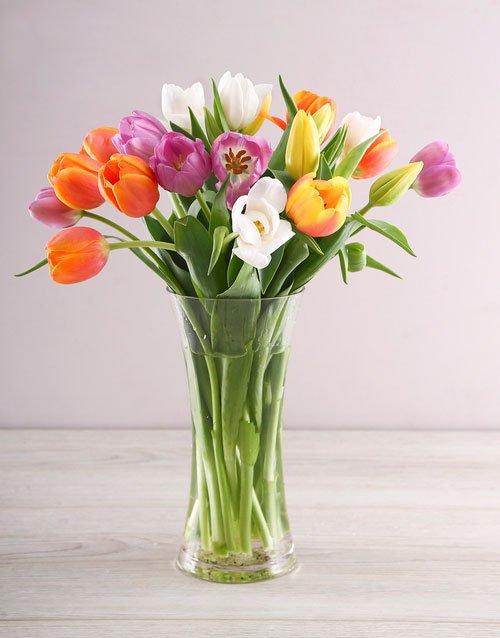 Rainbow Tulips in Clear Flair Vase