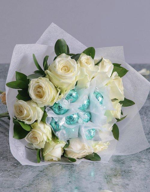 birthday White Rosy Chocolate Arrangement