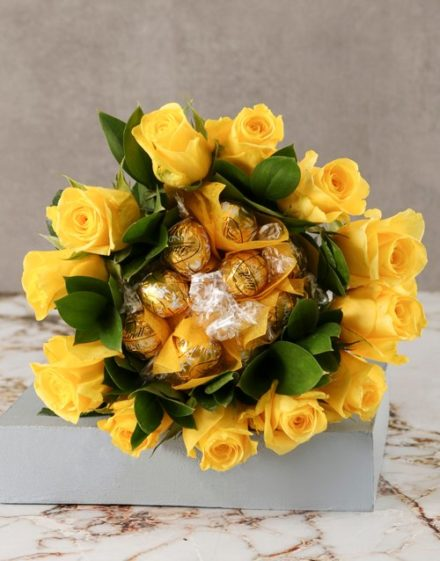 birthday Yellow Rosy Chocolate Arrangement