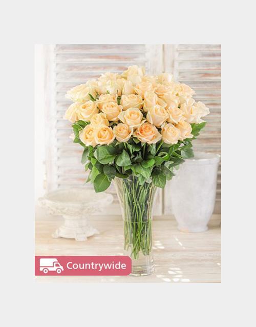 birthday Cream Roses in a Vase
