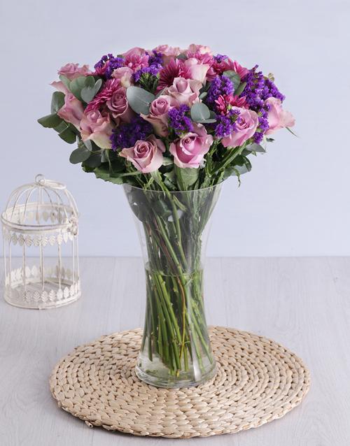 birthday Roses & Sprays in Clear Flair Vase