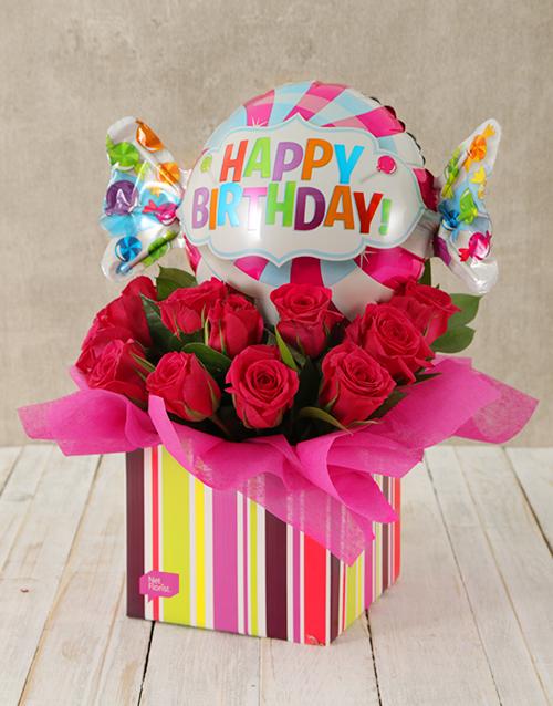 birthday Happy Birthday Cerise Rose and Sweety Balloon Box