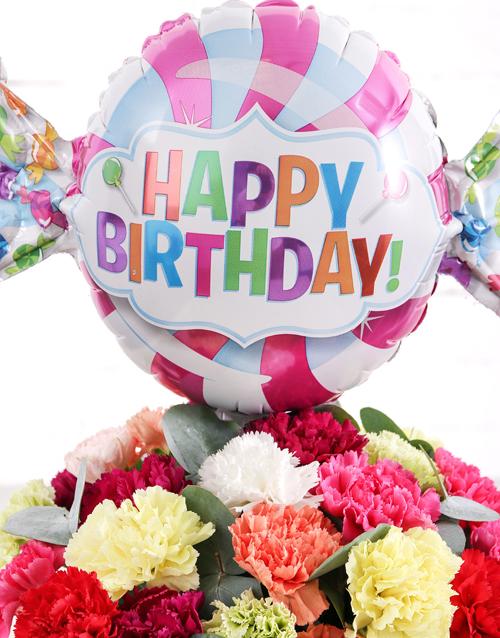 birthday Carnations and Birthday Balloon Treat