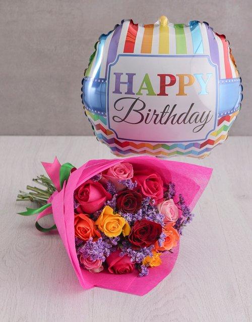 birthday Mixed Roses and Birthday Balloon