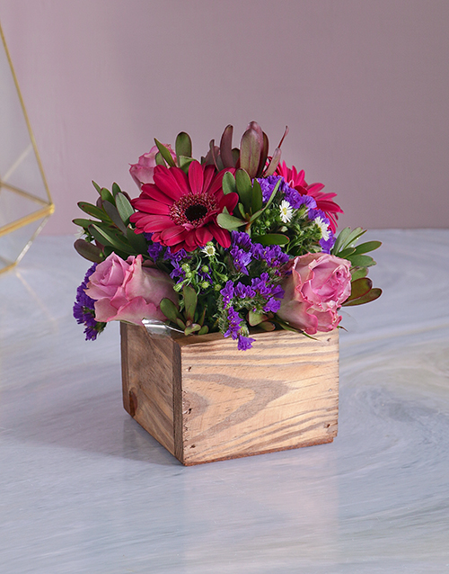 birthday Lilac Florals in a Wooden Crate