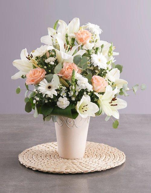 birthday Elegant Cream Flower Arrangement
