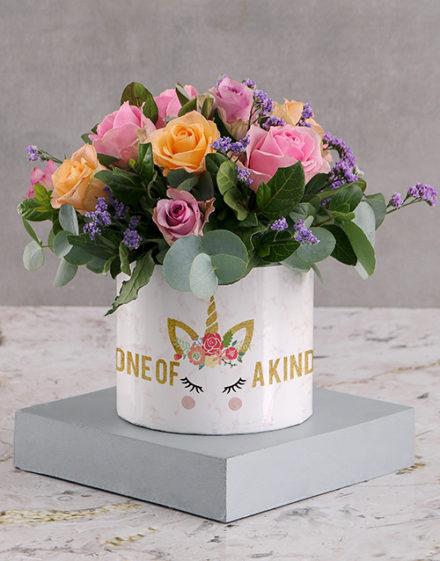 birthday Marvellous Mixed Roses in White Round Box