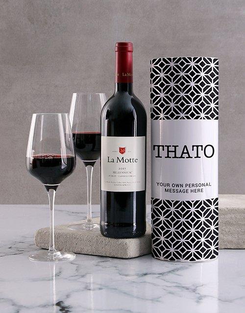 Modern Black Pattern Personalised Wine Tube