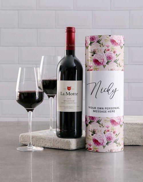 Peony Personalised Wine Tube