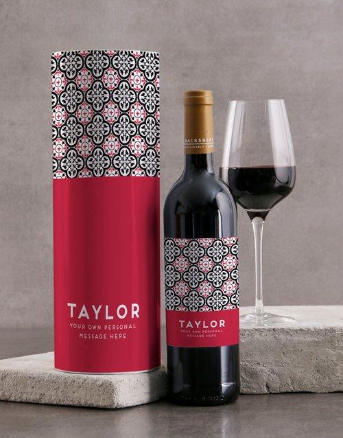 Red Azulejo Backsberg Personalised Wine Tube