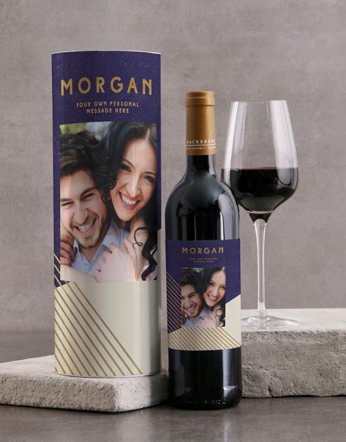 Modern Blue Geo Personalised Wine Tube