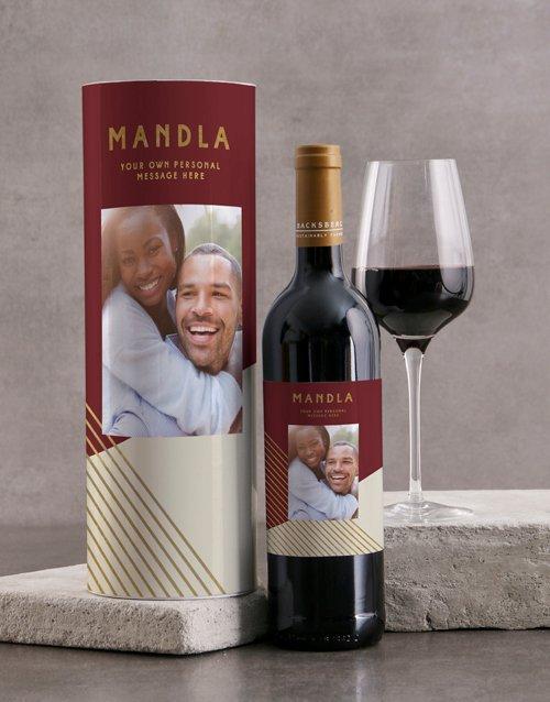Red Geo Personalised Wine Tube