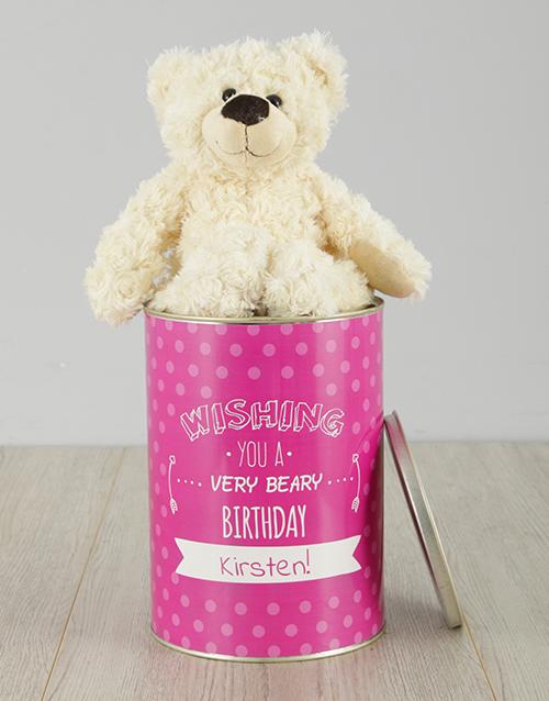 birthday Personalised Beary Birthday Teddy Tin
