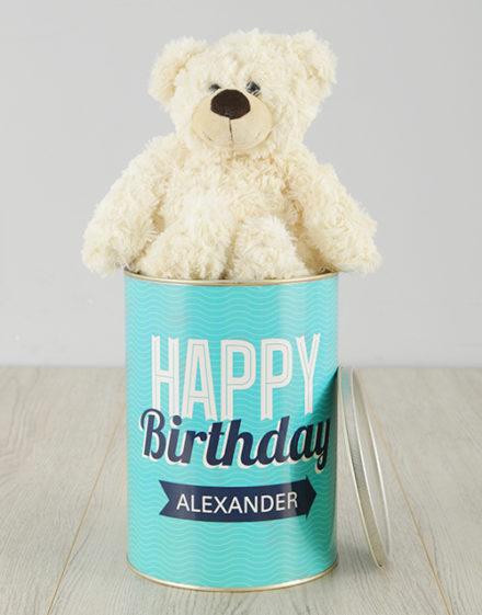 birthday Personalised Birthday Turquoise Teddy Tin