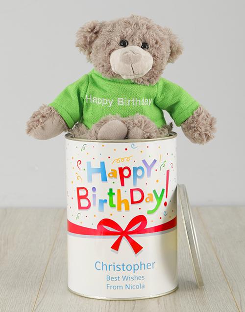 birthday Personalised Birthday Gift Wrapped Teddy Tin