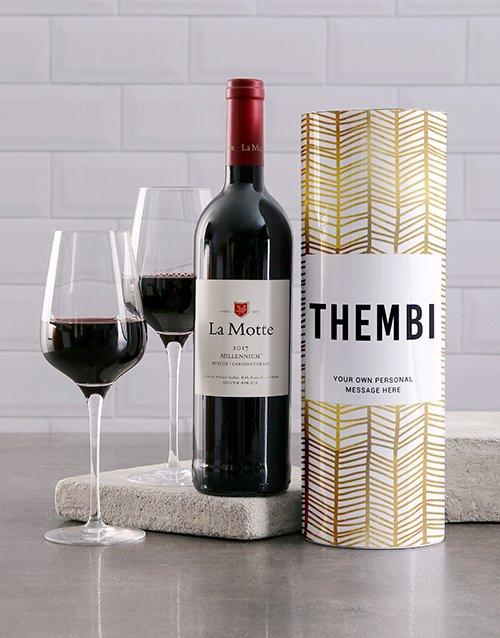 Gold Geometric Personalised Wine Tube