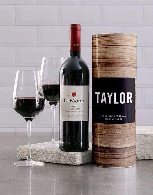 Wood Grain Personalised Wine Tube