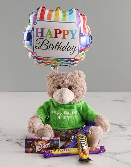 birthday Personalised Embroider Birthday Teddy Hamper