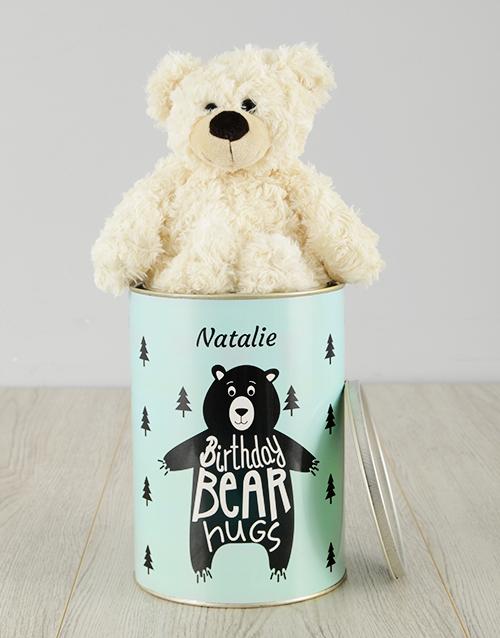 birthday Personalised Birthday Bear Hugs Teddy Tin