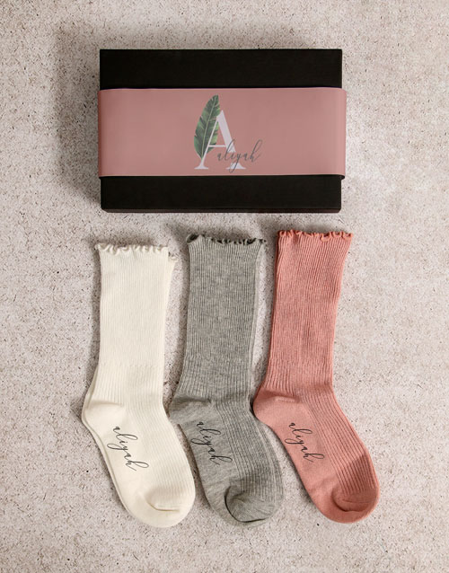 mothers-day Personalised Leaf Name Frills Sock Pack