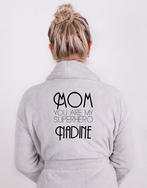 mothers-day Personalised Superhero Mom Light Grey Fleece Gown