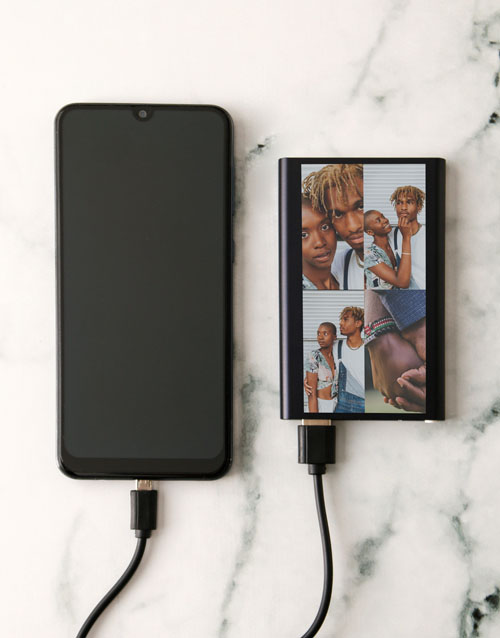 mothers-day Personalised Four Photo Black Powerbank