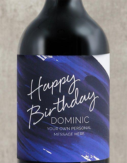 Blue Brushstroke Birthday Personalised Wine