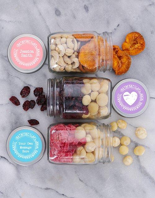 Personalised Happy Heart Fruit n Nut Jar Trio