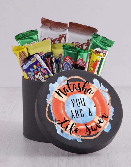 Personalised Life Saver Chocolate Hat Box