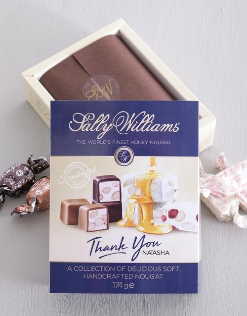 Personalised Sally Williams Nougat Thank You Box