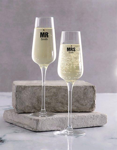 Wedding Personalised Champagne Glass Set