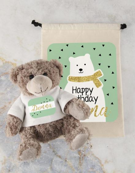 birthday Personalised Birthday Teddy and Drawstring Bag