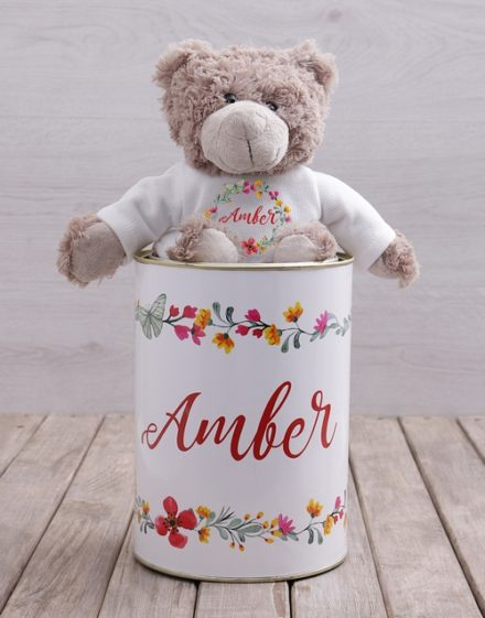 mothers-day Personalised Floral Teddy Tin