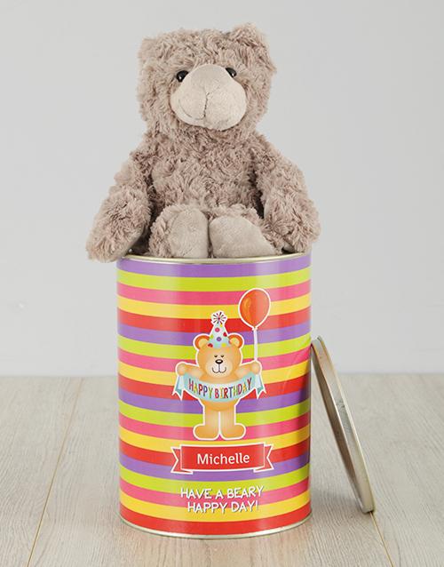 birthday Personalised Striped Happy Birthday Teddy Tin