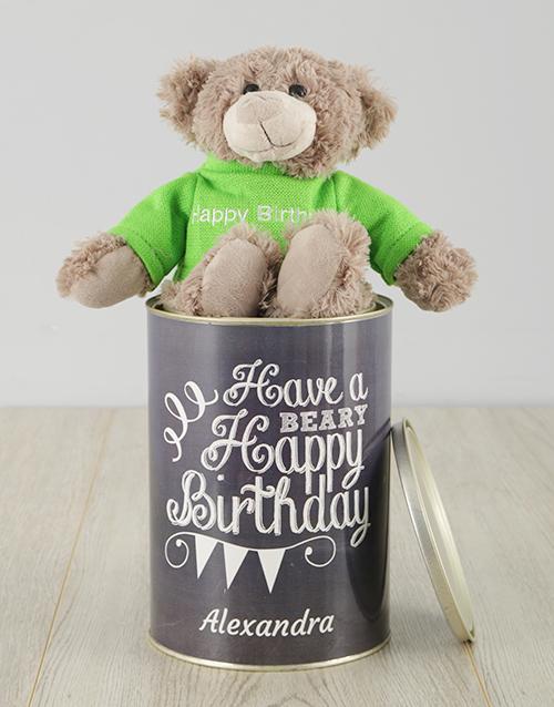 birthday Personalised Beary Happy Birthday Teddy Tin